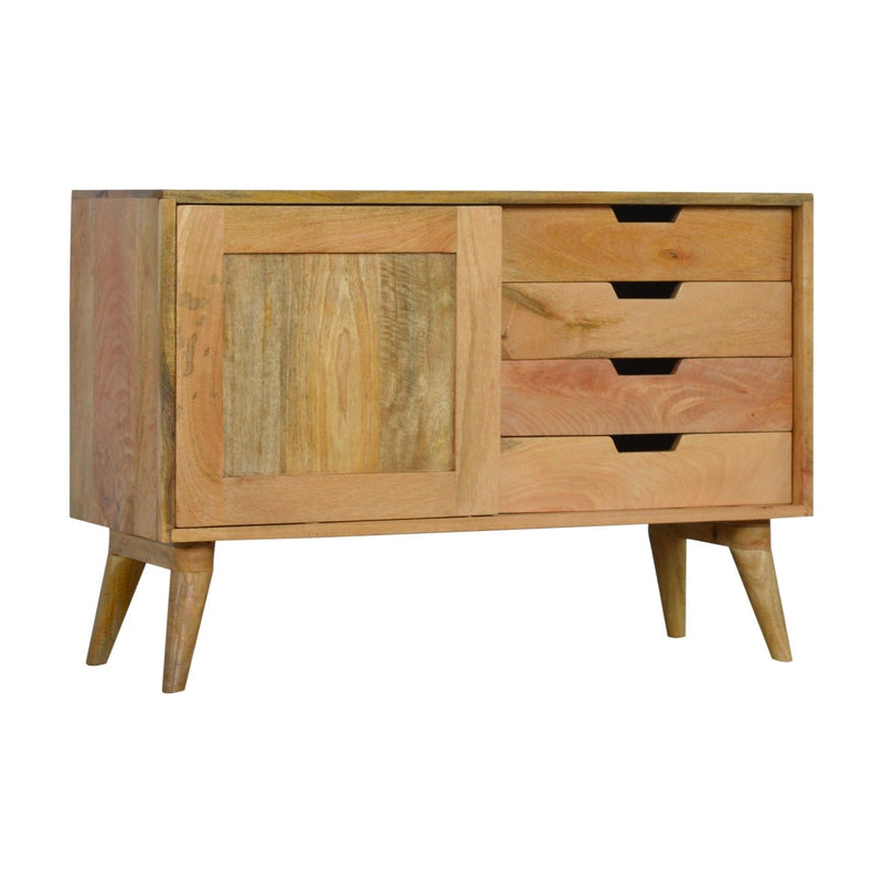 Handcrafted Storage Cabinet With Sliding Door and 4 Drawers - HM_FURNITURE