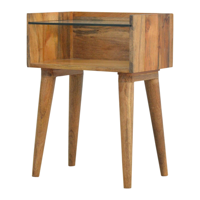 Daine - Bedside Table with Glass Top