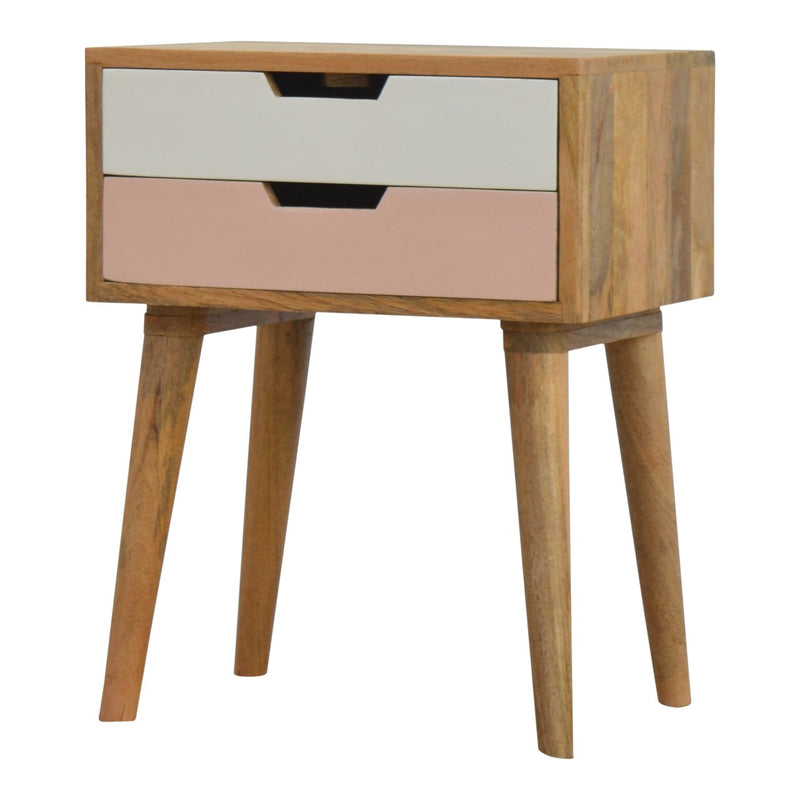 Handcrafted Bedside Table With 2 Painted Drawers - HM_FURNITURE
