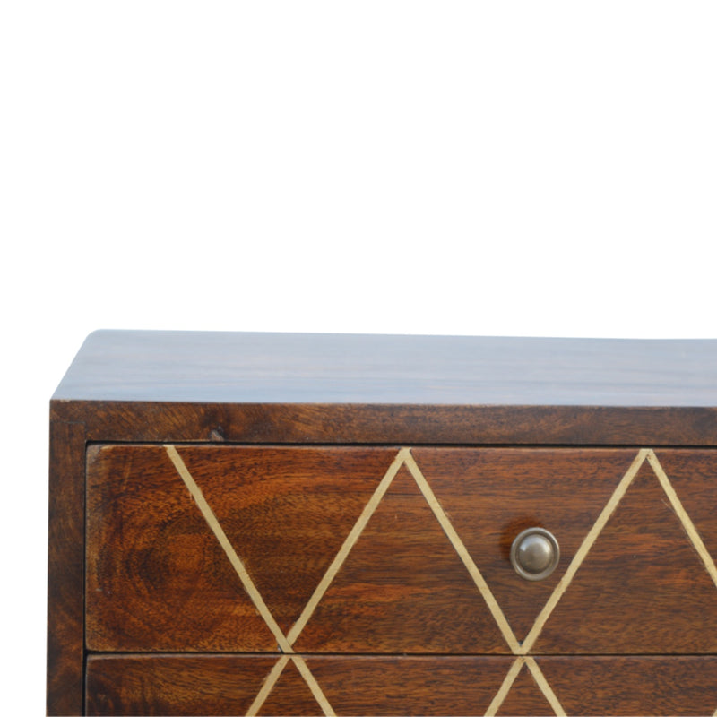 Handcrafted 2 Drawer Brass Inlay Bedside