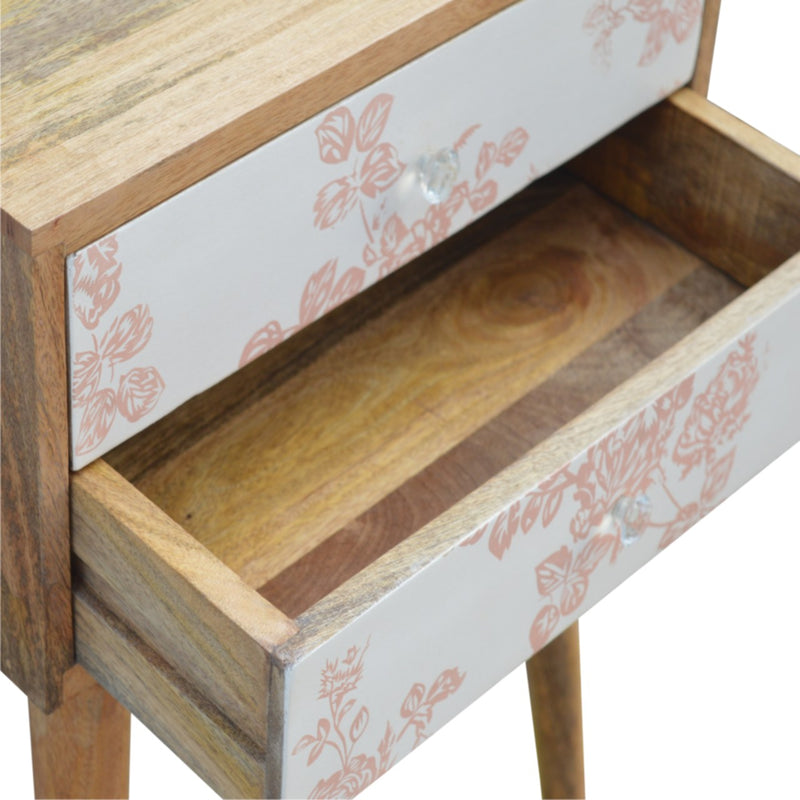 Floral Printed 2 Drawer Bedside