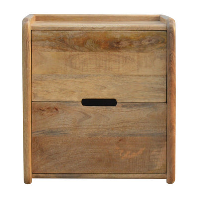 Handcrafted Bedside Table With 2 Drawers and Gallery Back - HM_FURNITURE