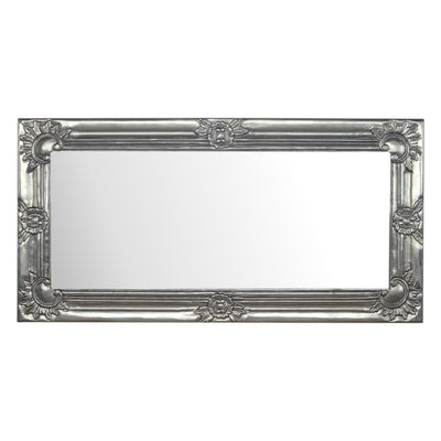 Handcrated Solid Wood Structure Silver Painted Mirror - HM_FURNITURE