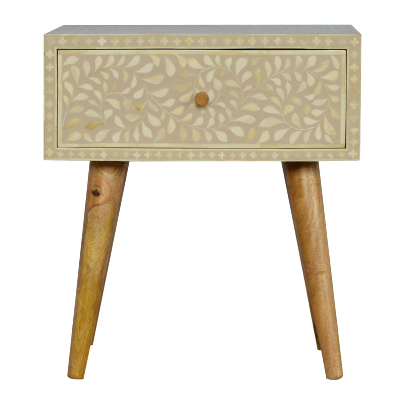 Floral Bone Inlay 1 Drawer Bedside
