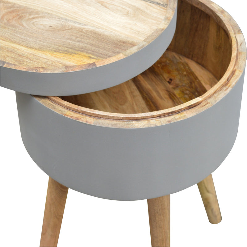 Lid-Up Grey Painted Side Table