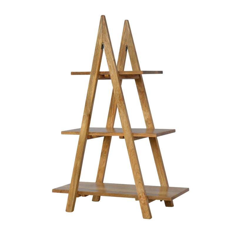 Oak Finish Ladder Display Shelf