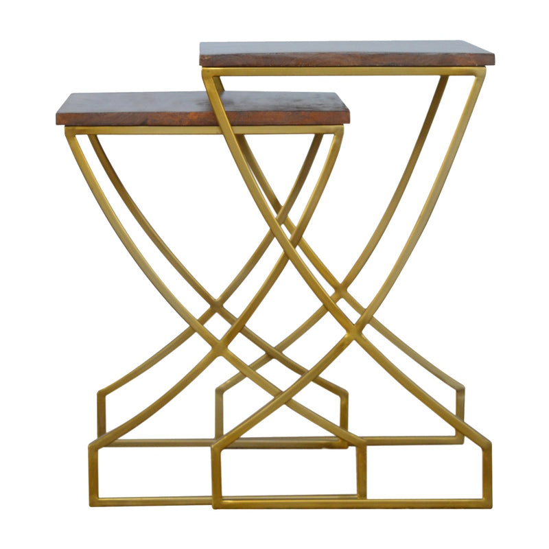 Handcrafted Solid Wood Tabletop and Golden Iron Base Nested Tables