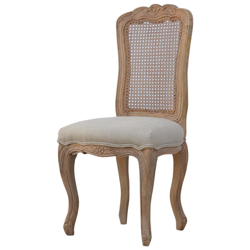 Handcrafted Carved Rattan Back and Padded Seat Dining Chair - HM_FURNITURE