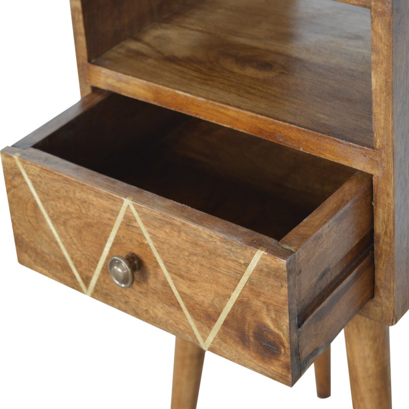 Evy - 1 Drawer Petite Bedside, Brass Inlay