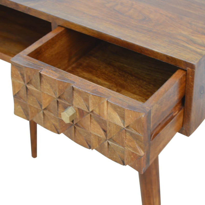 Alice - 1 Drawer Desk, Diamond Carved