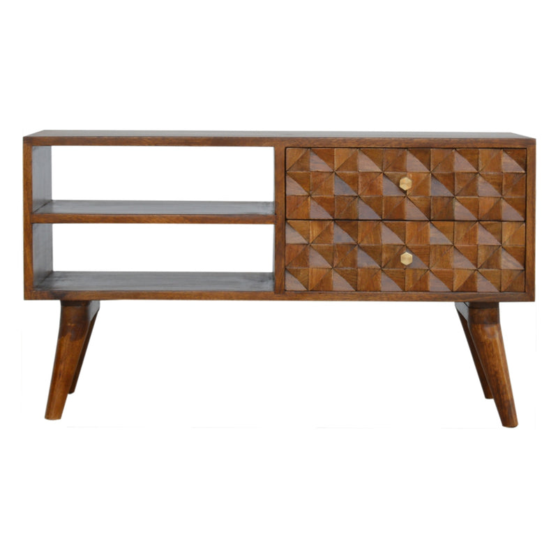 Alice - 2 Drawer Media Unit, Diamond Carved