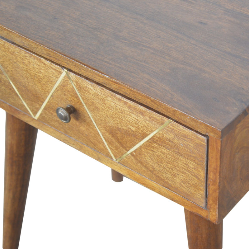 Handcrafted Brass Inlay 1 Drawer Bedside