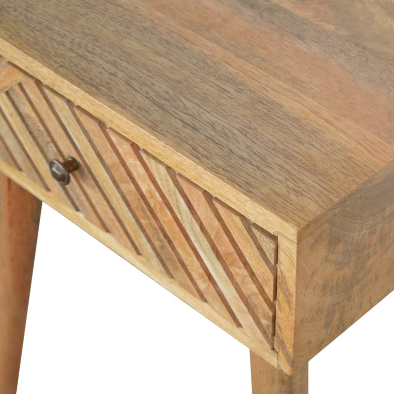 Handcrafted Solid Wood Line Carved Drawer Bedside