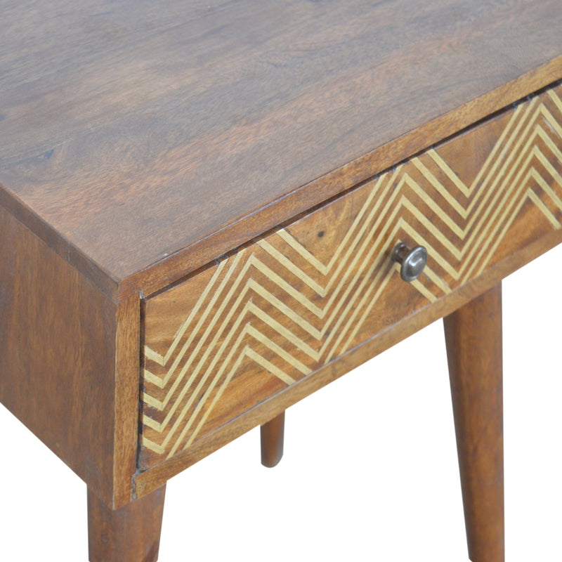 Evy - 1 Drawer Bedside, Brass Inlay