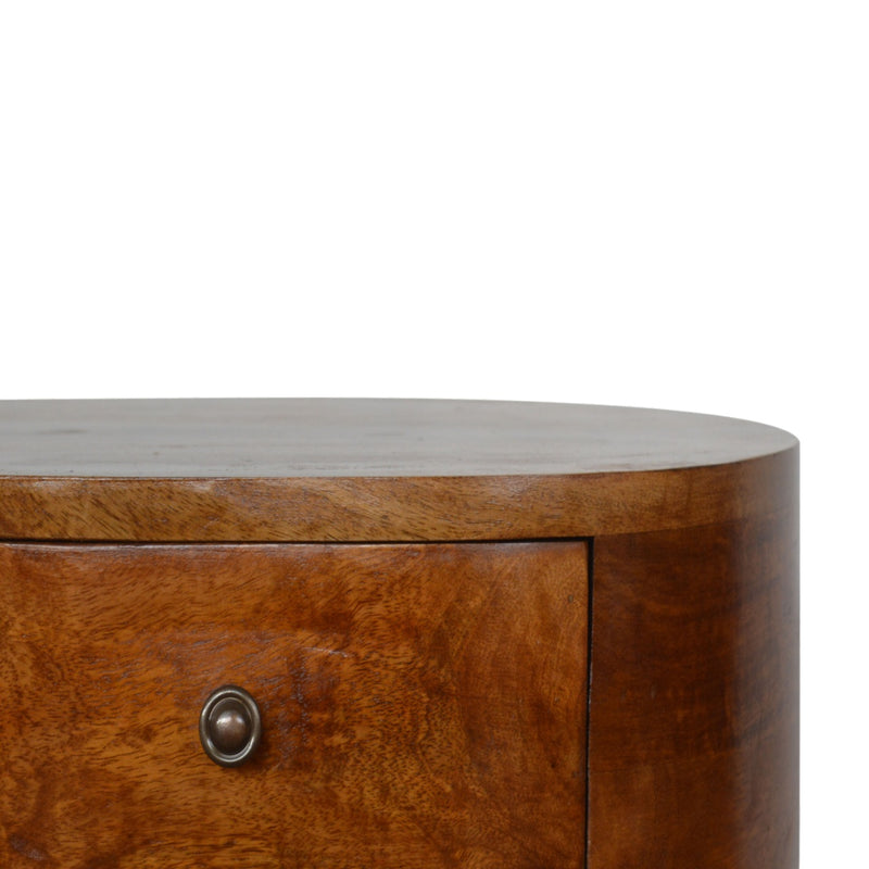 Handcrafted 2 Drawer Round Bedside