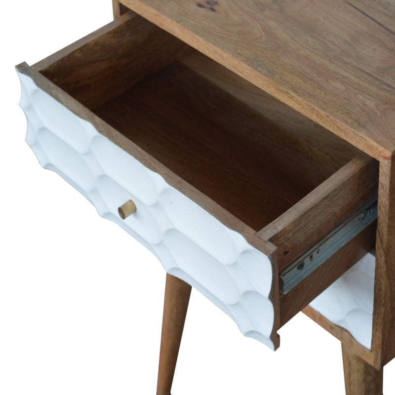 Aimee - 2 Drawer Bedside, Capsule Carved