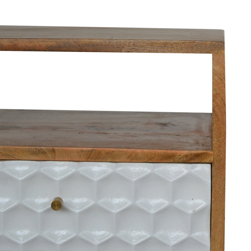 Honeycomb Carved 2 Drawer Bedside