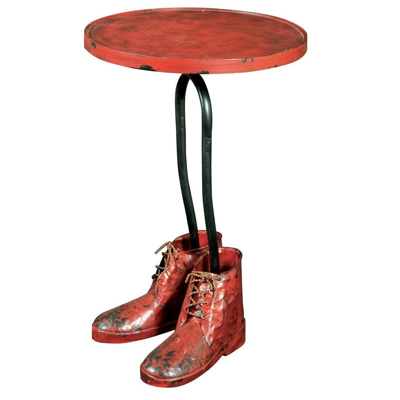 Distressed Finish Metal Side Table - HM_FURNITURE