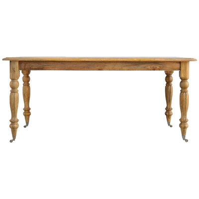 Handcrafted Dining Table With Castor Legs - HM_FURNITURE