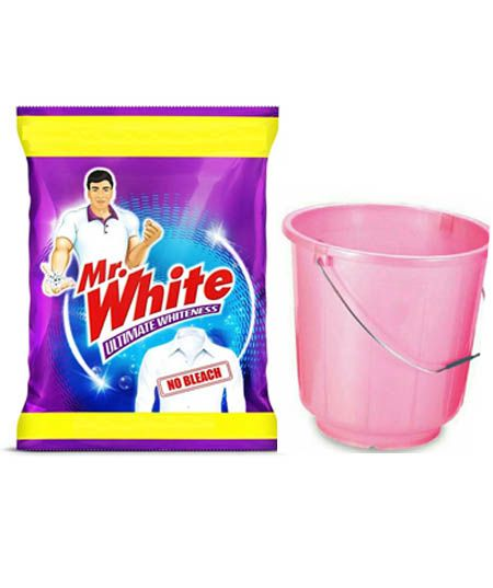 MR. WHITE DETERGENT POWDER, 3KG WITH BUCKET FREE
