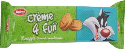 CREAM 4 FUN, PINEAPPLE FLAVORED CREAM SANDWICH BISCUITS