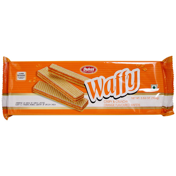 WAFFY CRISPY & CRUNCHY ORANGE FLAVOURED WAFERS(100G)