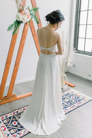 Simple Eco Bridal Gown - Flowy Beaded Lace Back Silk Georgette Wedding Gown Bohemian Organic Eco Friendly