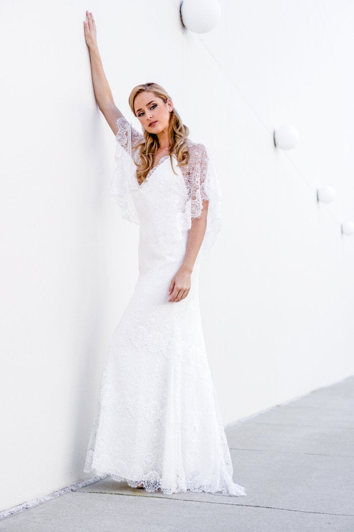 Lace Wedding Dress Long Sleeve Boho Romantic Chic Bridal Gown Detachable Sleeve