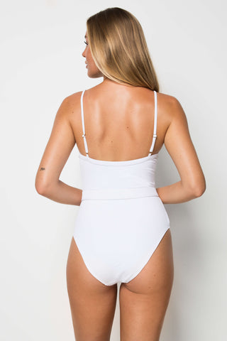 Calgary One Piece - White Rib - Cantik Swimwear
