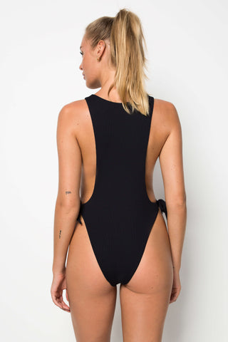 Pan Am One Piece - Black Rib - Cantik Swimwear