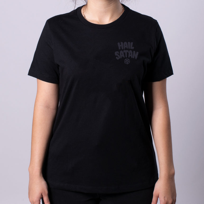 Hail Satan Women's Relaxed Jersey Tee front black