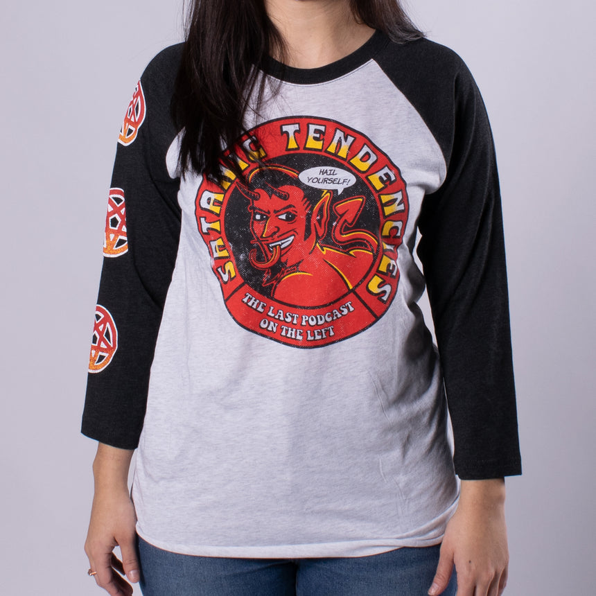 Satanic Tendencies Raglan Tee Vintage White/Black man front