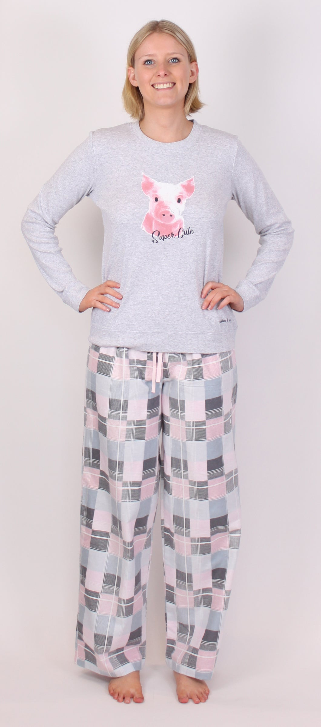 PICKLES AND LOOP PJ SET PINK CHECK PRINT PL445