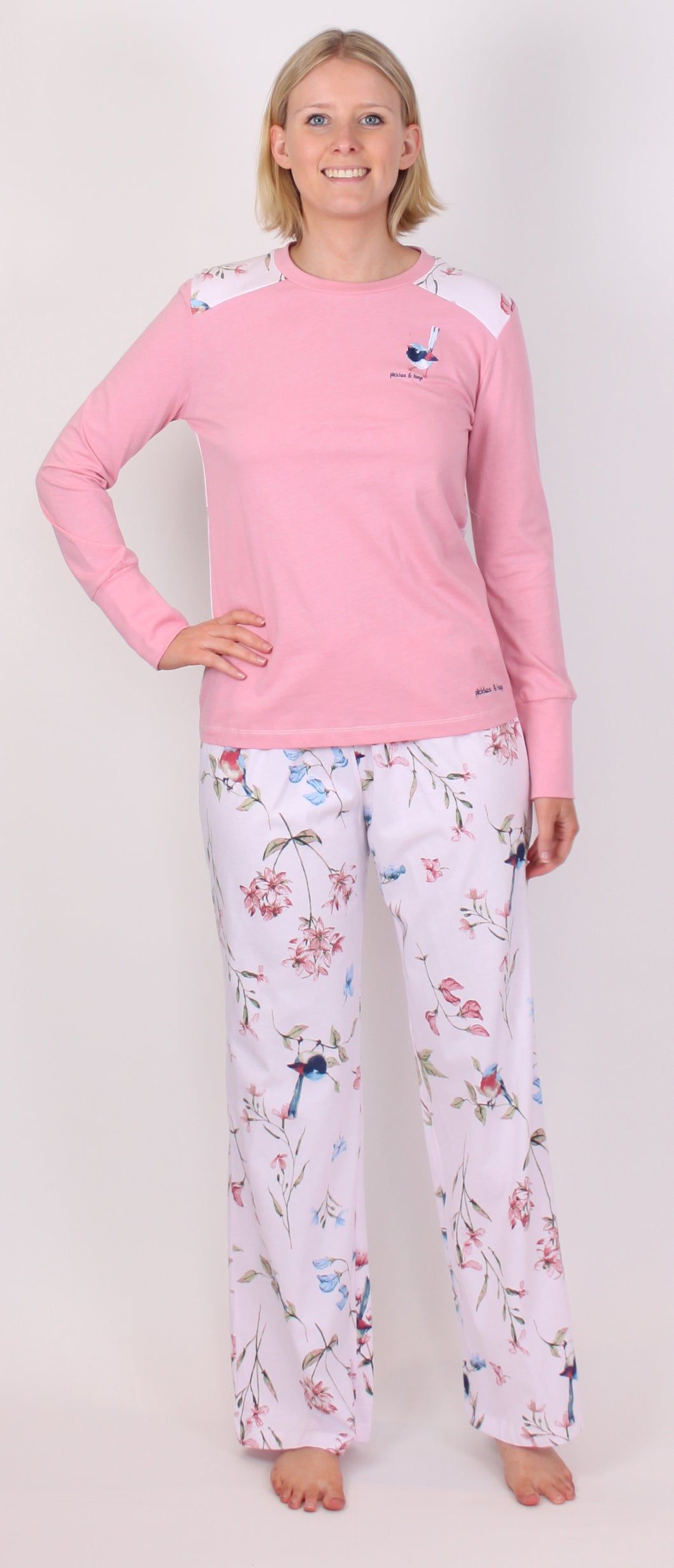 PICKLES AND LOOP BOTANICAL WREN PRINT PJ BOTTOMS AND PINK PJ TOP WITH EMBROIDERY PL452
