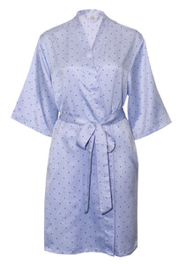 Relax At Home Blue Satin Spot Robe - RH367