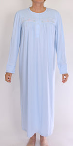 SCHRANK BRIDGET LONG NIGHTIE WITH EMBROIDERY AT YOKE - MID BLUE SK033