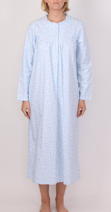 SCHRANK CLARA LONG NIGHTIE WITH FLORAL PRINT- AQUA SK137