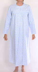 SCHRANK CLARA LONG NIGHTIE WITH FLORAL PRINT- PALE BLUE SK137