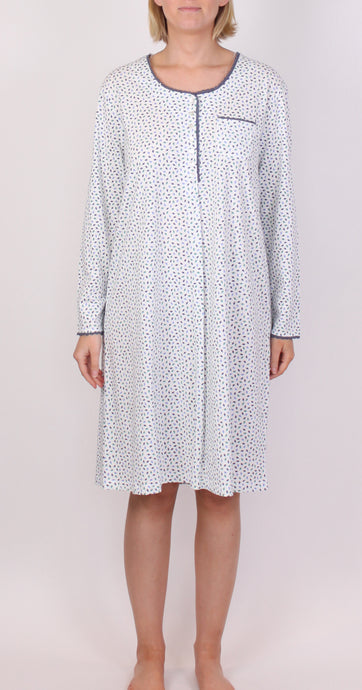 SCHRANK DIANA SHORT COTTON NIGHTIE WITH PRINT - IVORY SK352D