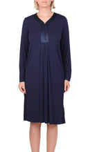 Load image into Gallery viewer, YUU DRESS NAVY SATIN TRIM Y618