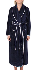 Satin Trim Robe Navy - Y806