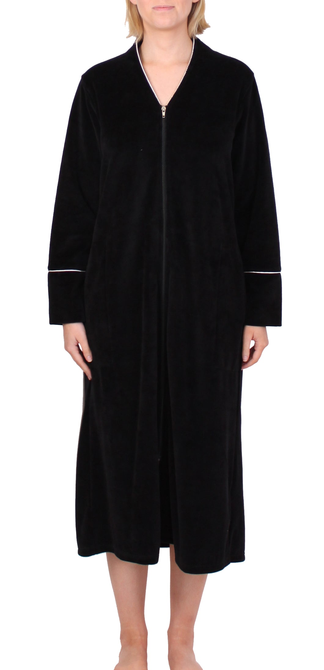 Velour Zip Robe Black - Y818