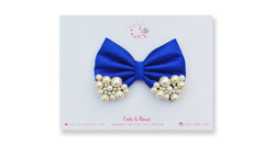 Medium Royal Blue Pearl Bow