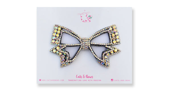 Mesh Bejeweled Bow - Black