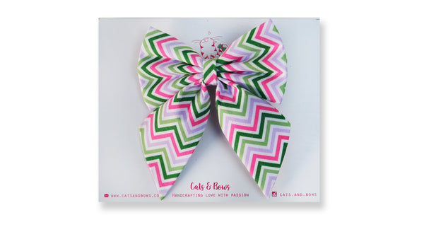 Noel Chevron Pigtail Bow