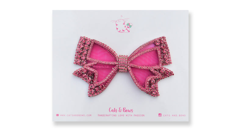 Mesh Bejeweled Bow - Pink