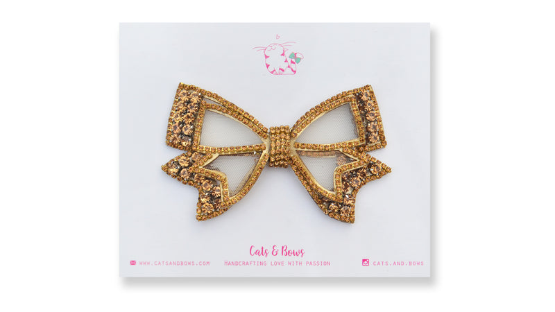Mesh Bejeweled Bow - Gold