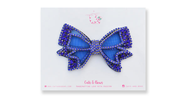 Mesh Bejeweled Bow - Blue