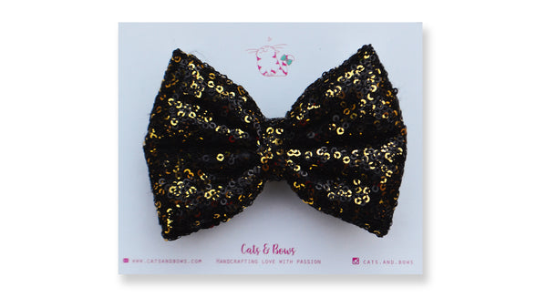 Gold Black Sequin Bow