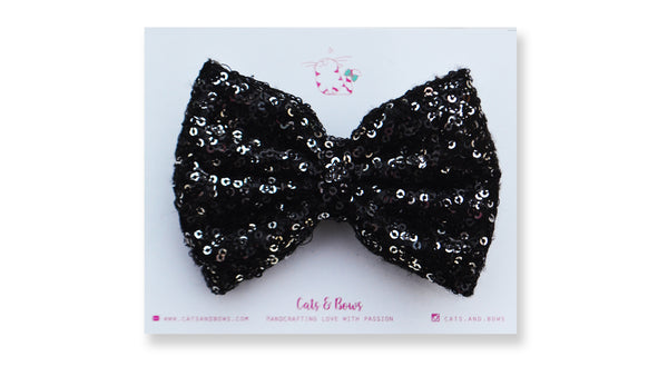 Silver Black Sequin Bow